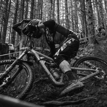 Black and white photo of Shawn Neer on the SB150