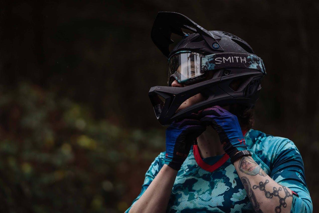 Bike rider wearing a helmet