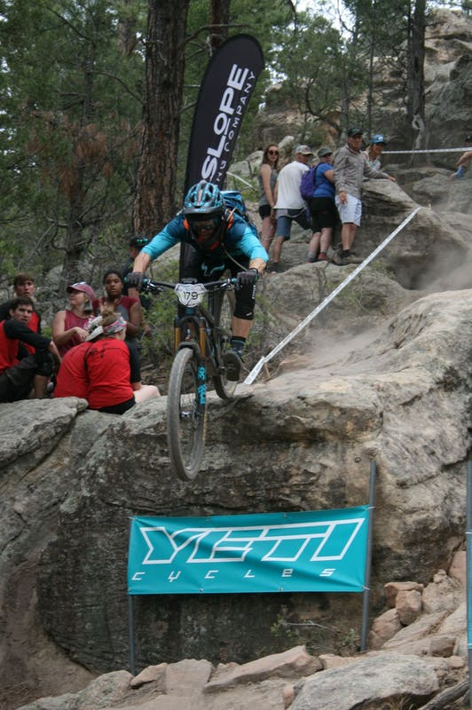Dee Tidwell hitting the rock drop at BME Santa Fe