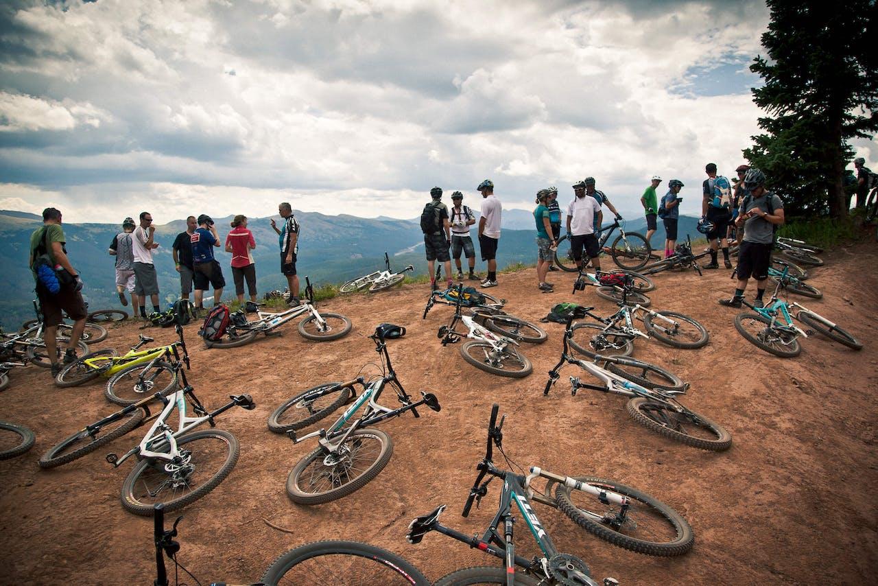 Riders mingle after a tough climb