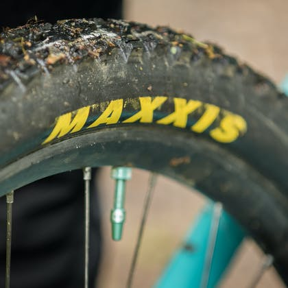 Maxxis tires on Jubal Davis's 2020 Yeti / Fox National Team Race Bike