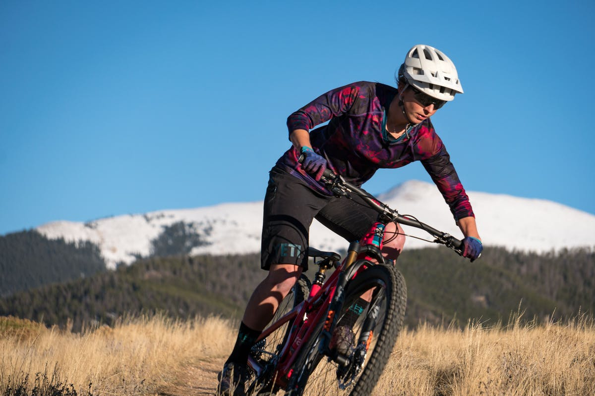 Sarah Rawley riding the SB100 in Summit Country, CO