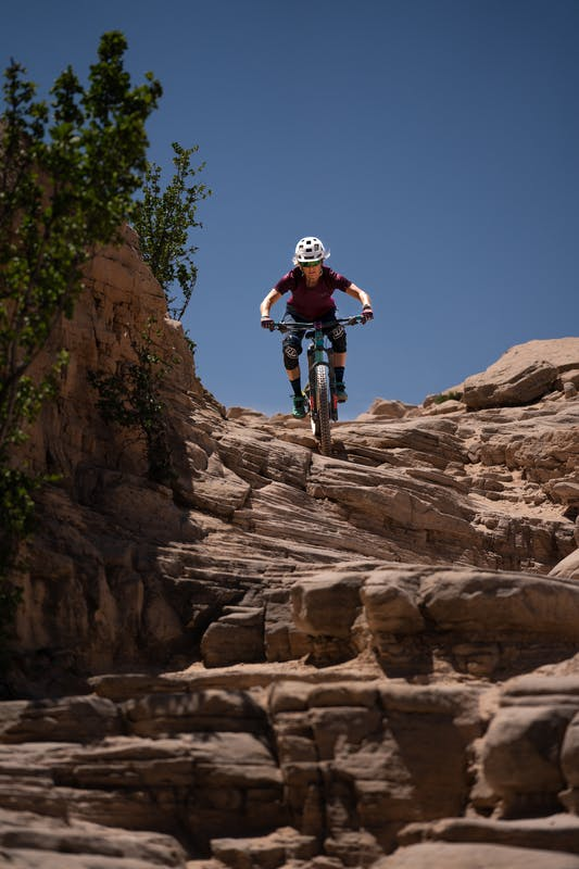 Liz Cunningham riding the Horse Thief Bench drop-in