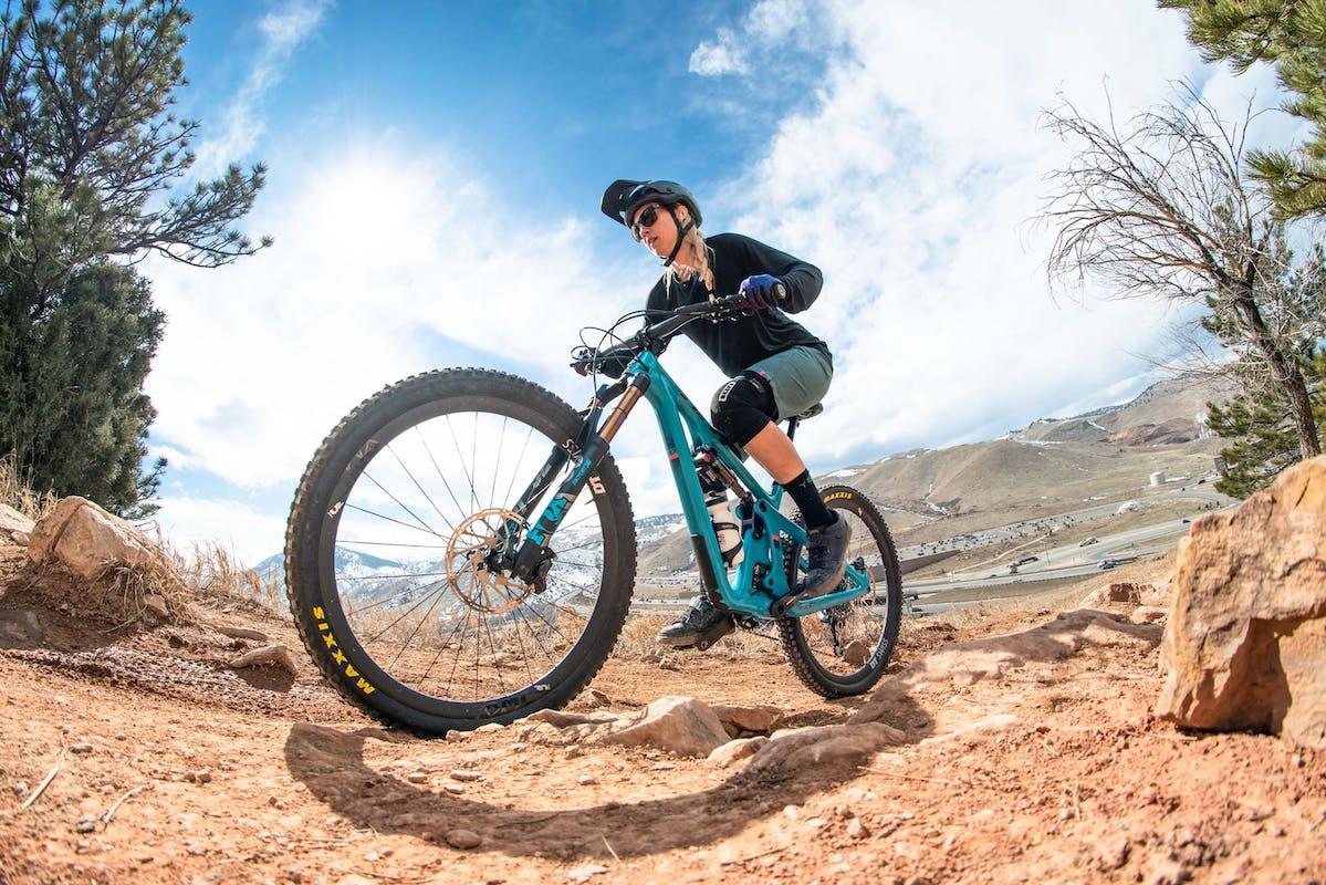 Amanda Bell climbing Dakota Ridge
