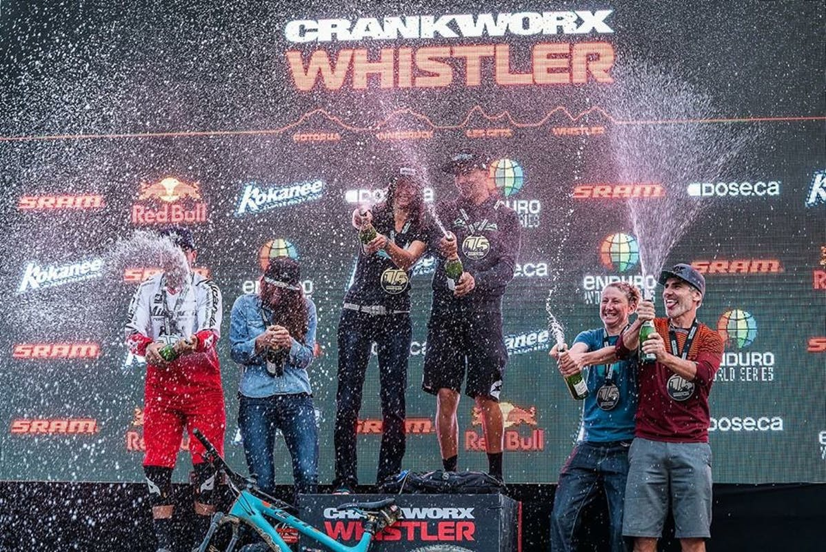 Mike West on the podium at EWS Whistler