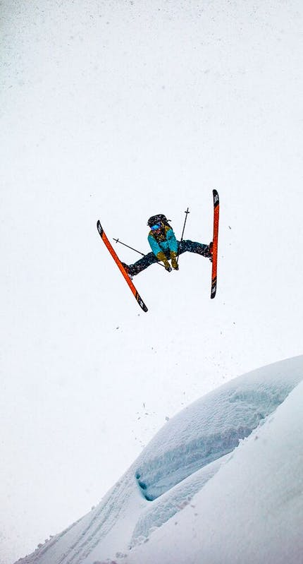 Marty Schaffer doing a massive spread eagle on skis