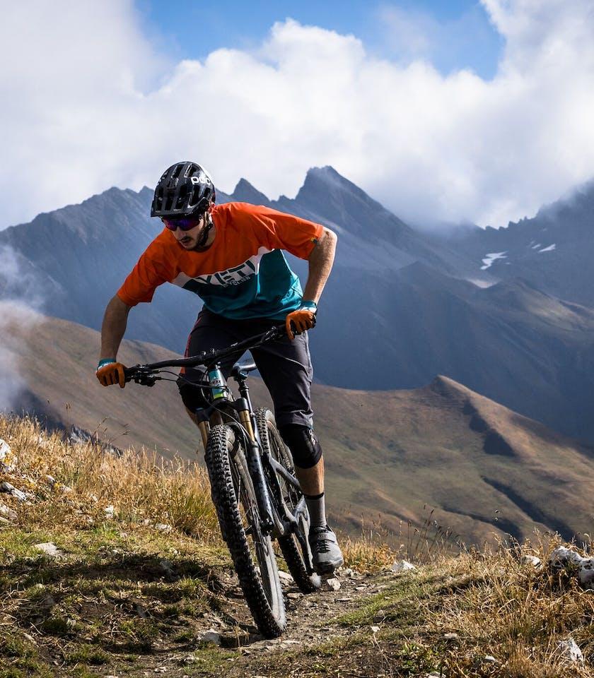 Francesco Gozio climbing near Mt. Blanc
