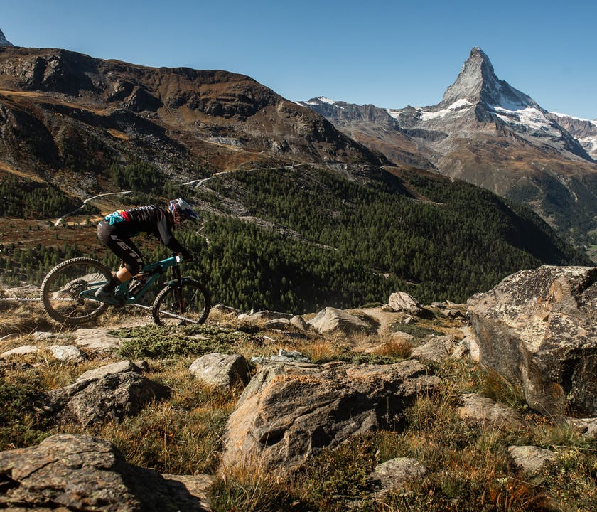 Richie Rude riding with the Matterhorn in background