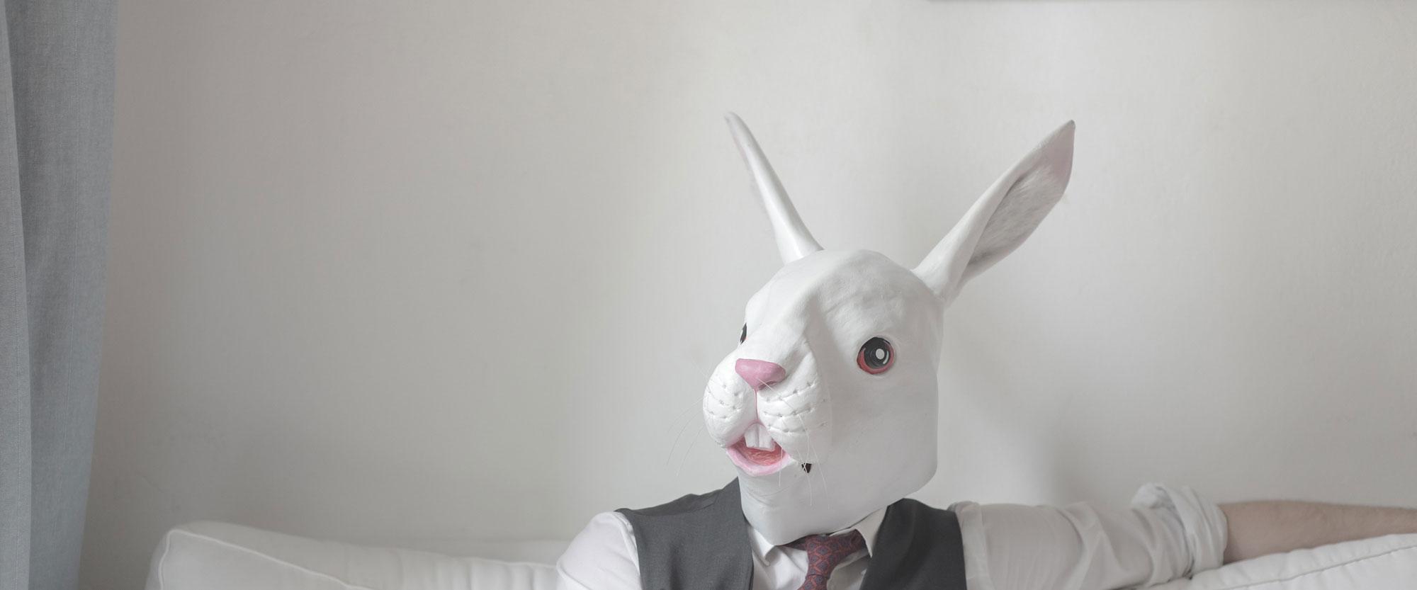Man met konijnmasker