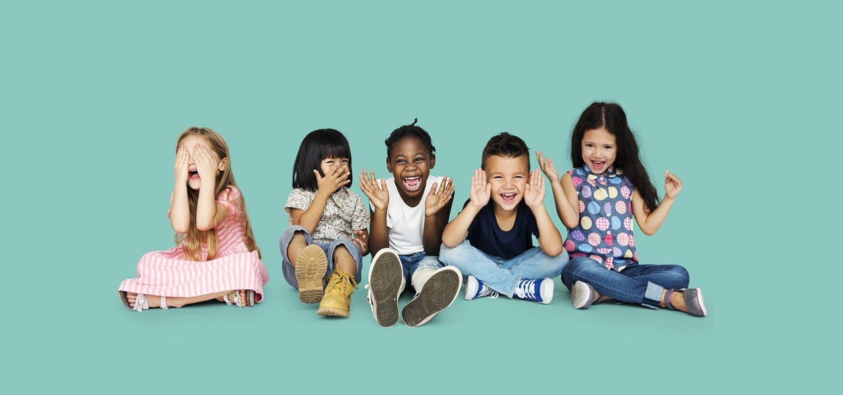 children blue background