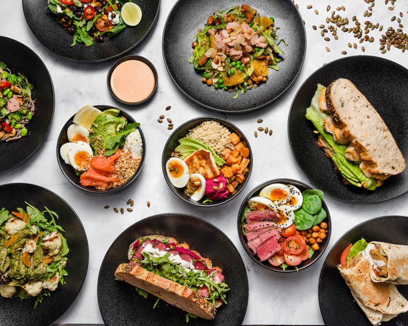 the hungry mind healthy lunch options such as salad bowls and sandwiches