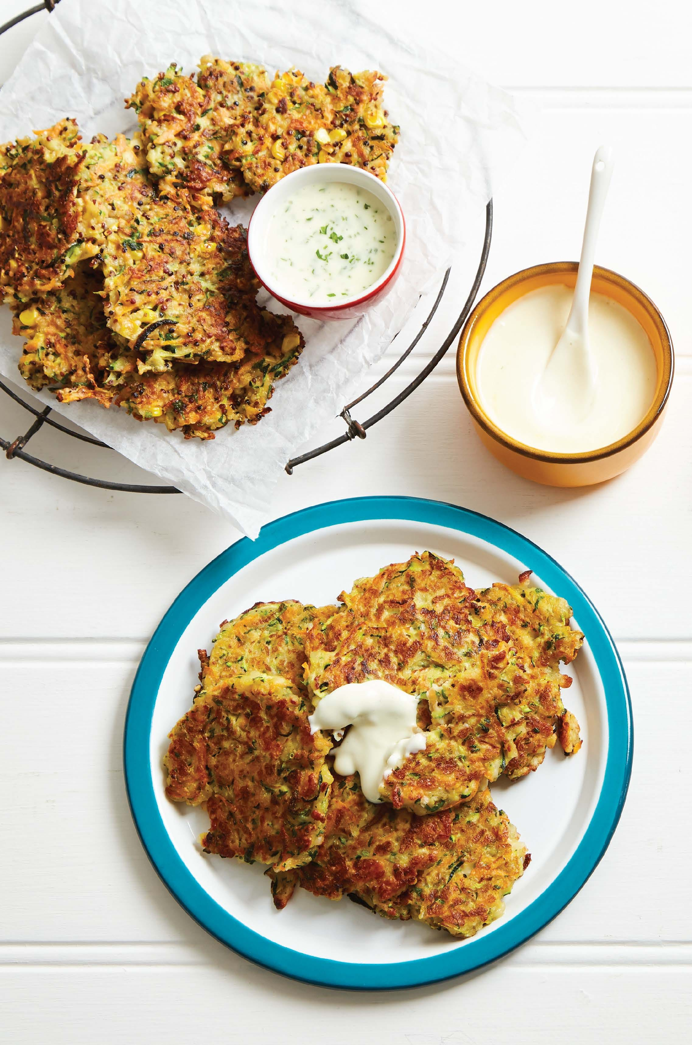 Vegetable and haloumi fritters