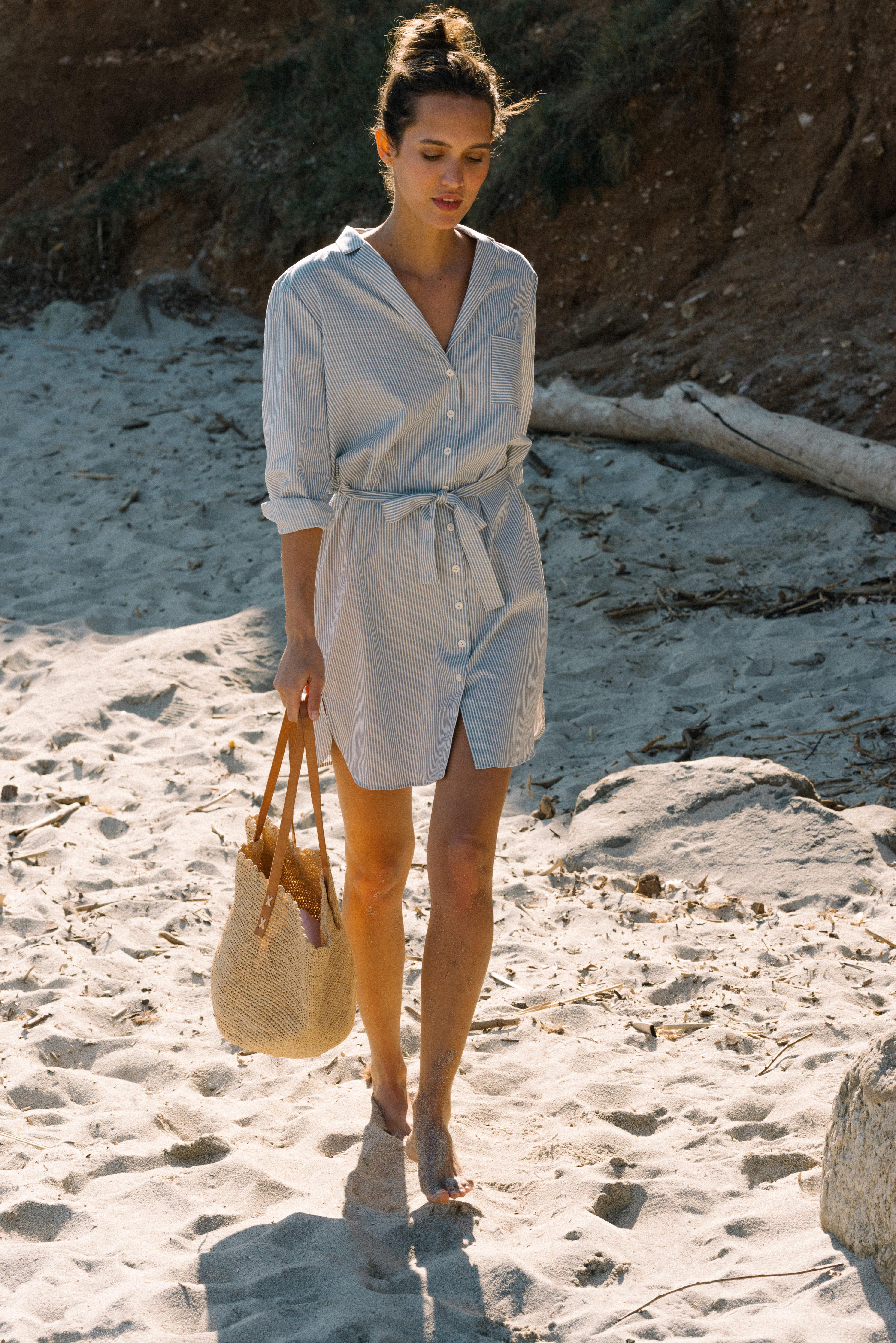 Robe Après la plage rayure bleu et écru