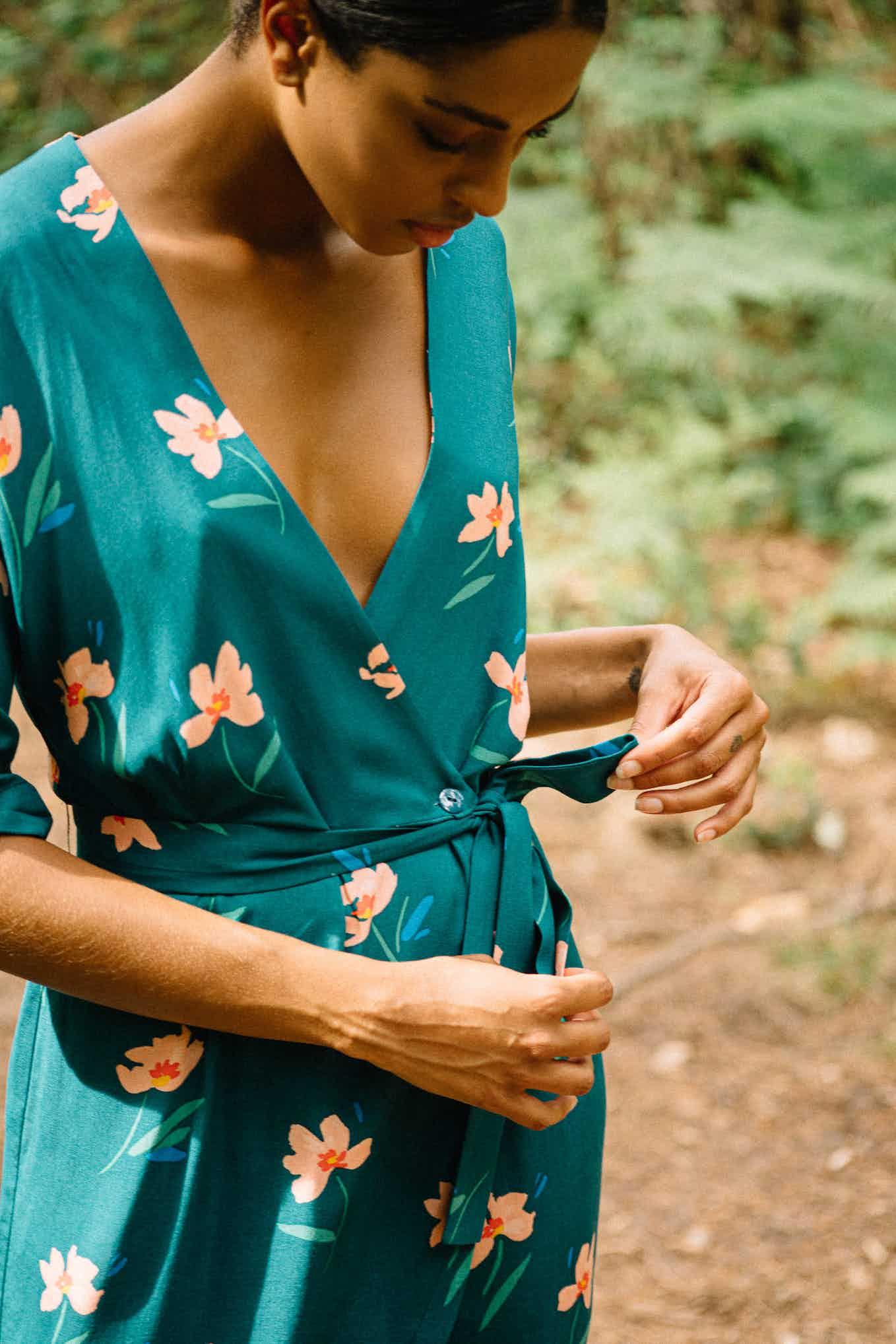 Robe portefeuille Voyage léger Imprimé garden