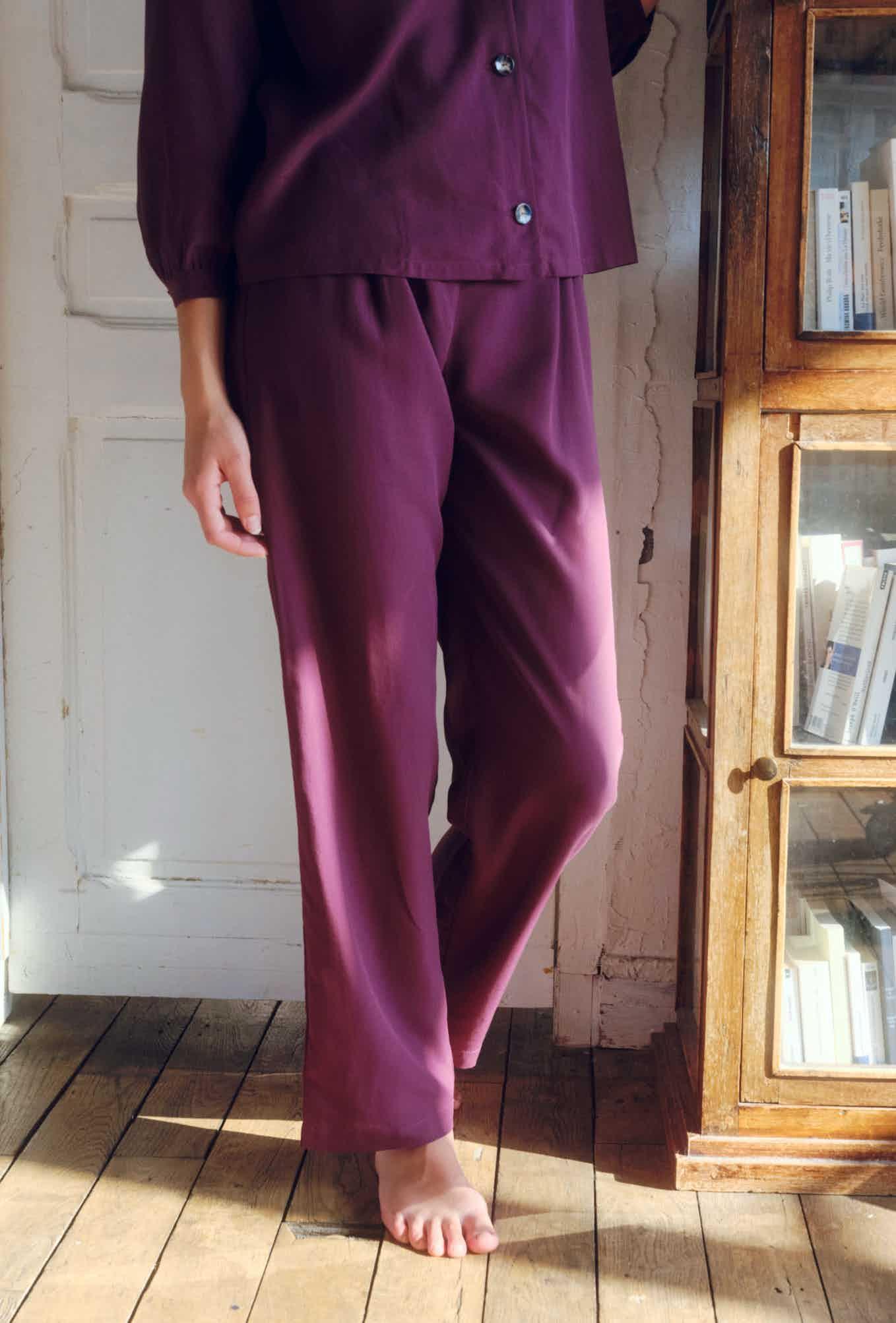 pantalon poème de demain aubergine
