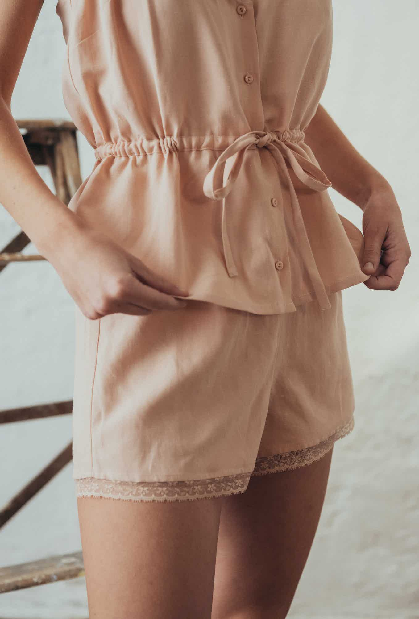 camisole top and shorts l'ombre du tilleul rose