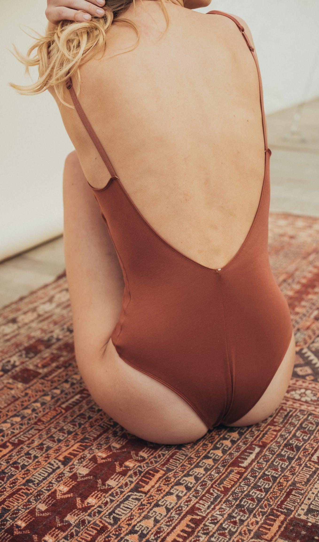 Back view of À fleur de peau Bodysuit in hazelnut