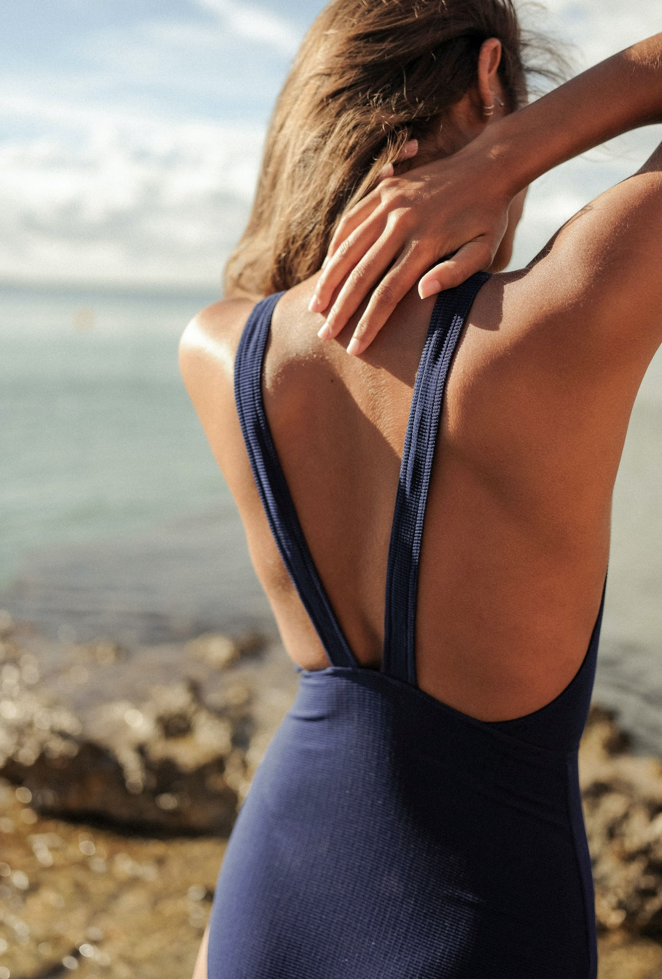 One piece swimsuit Paradis terrestre in navy blue