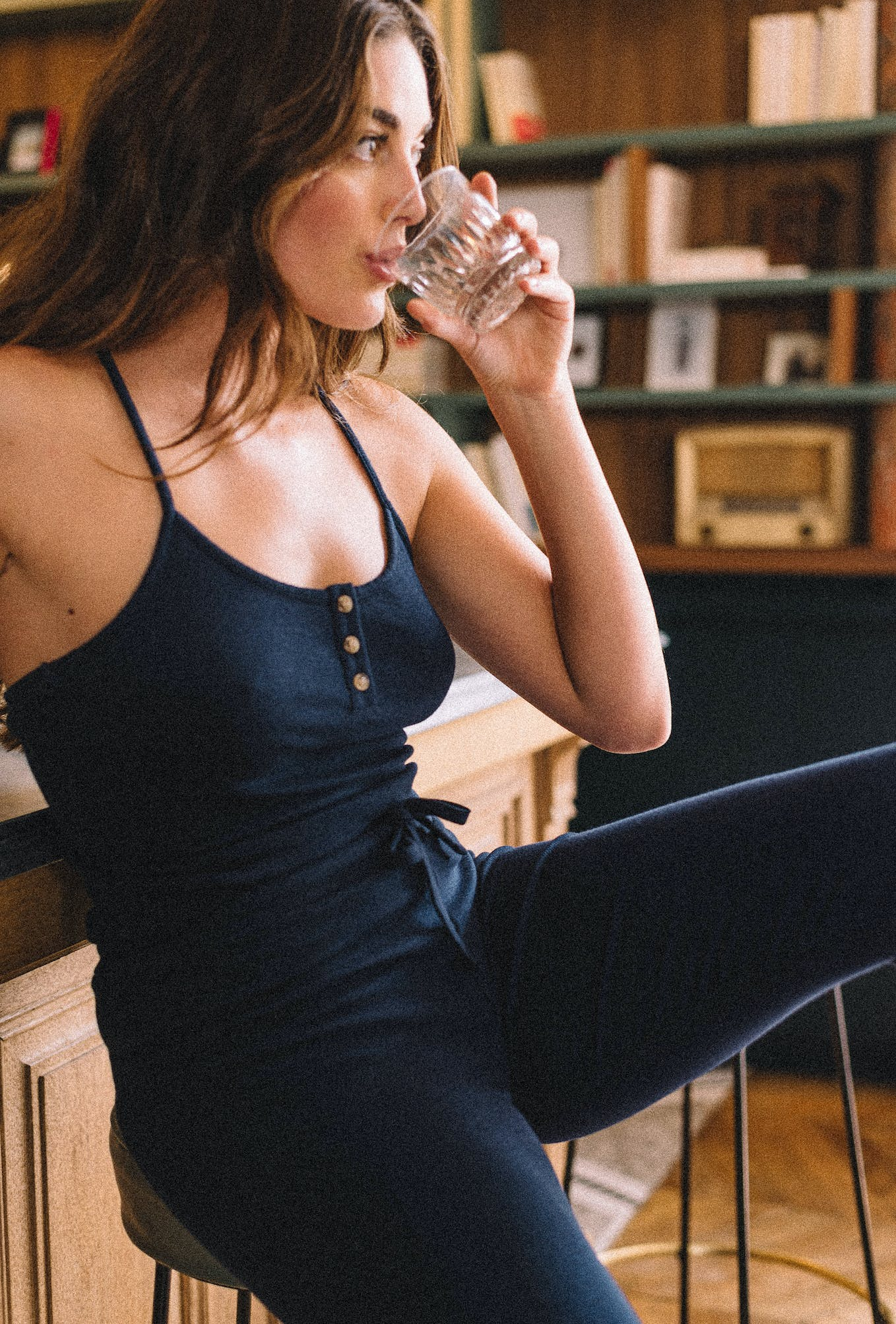 Train mistral tank top in navy blue