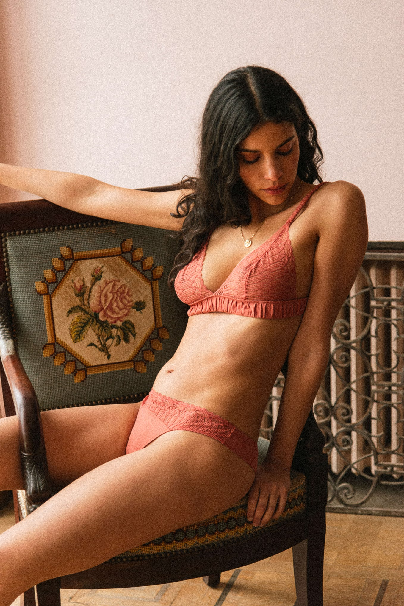 Lingerie set Sur mon épaule tea pink lace