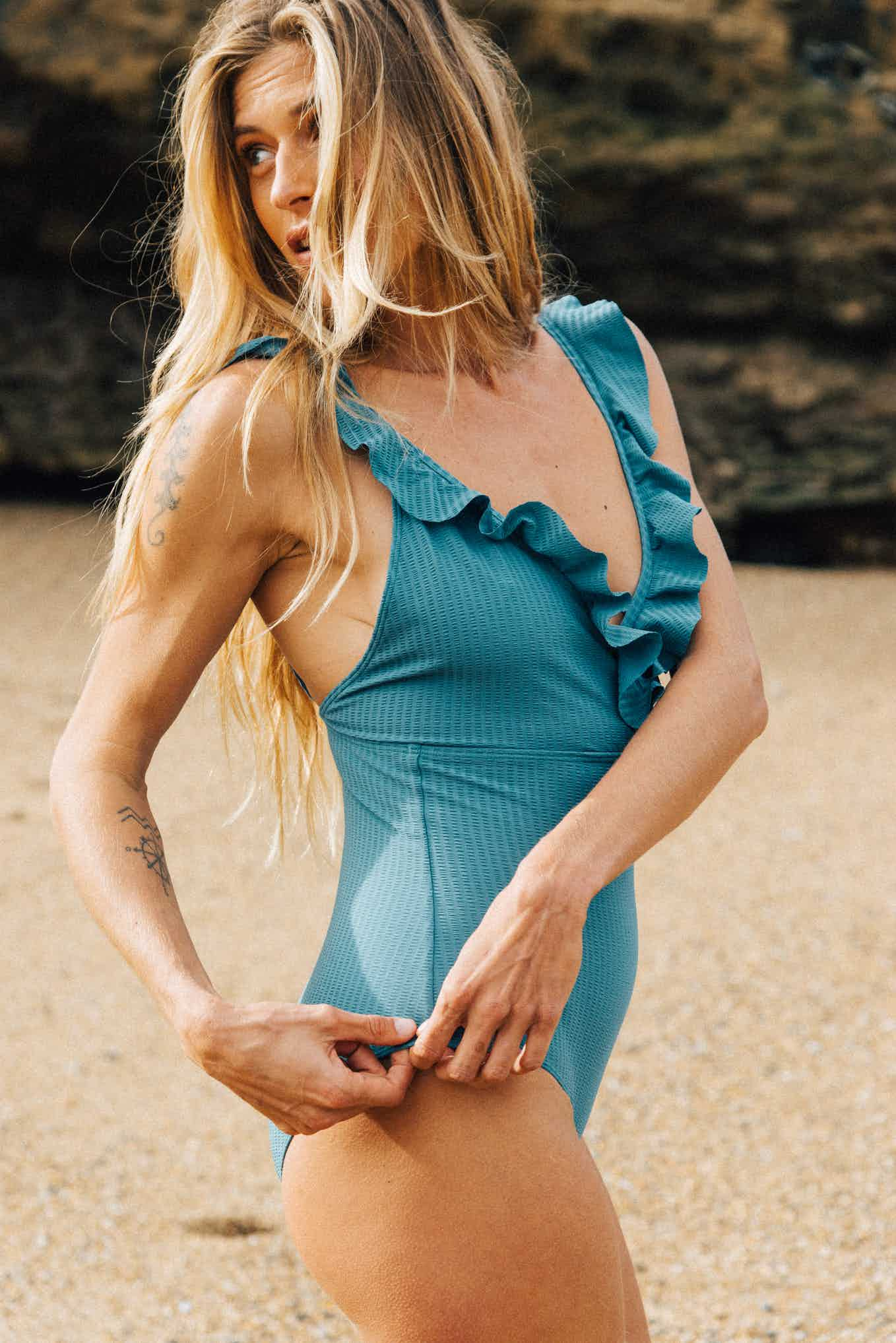 One piece swimsuit Carte postale blue lagoon