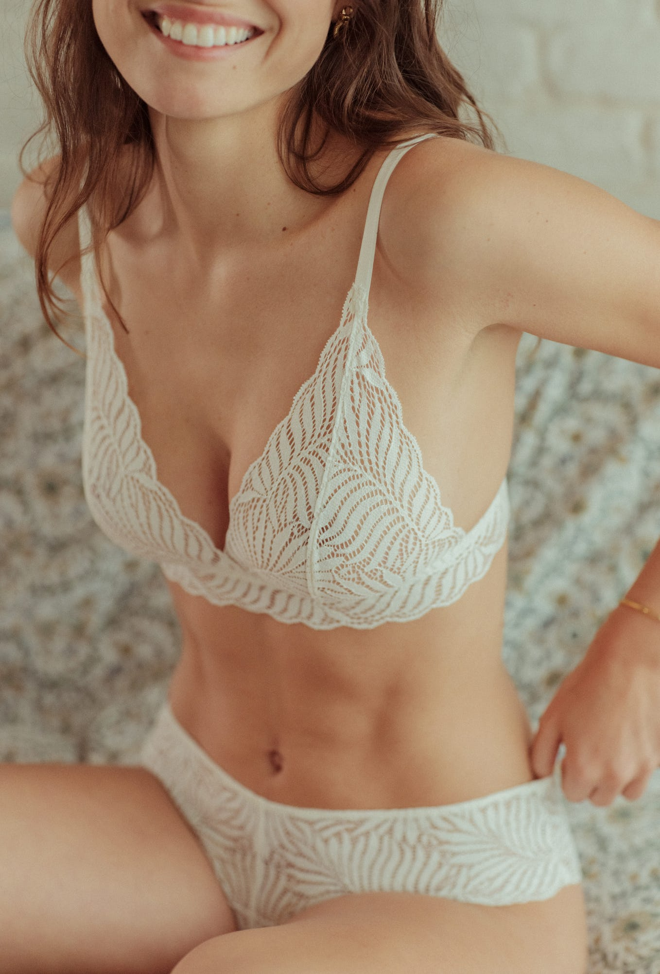 Lingerie set L'air du temps in ivory with triangle bra and shorty