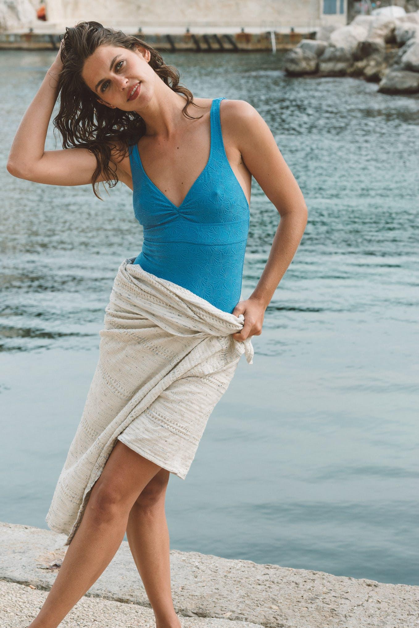 Swimsuit Baiser coquillage Azure blue