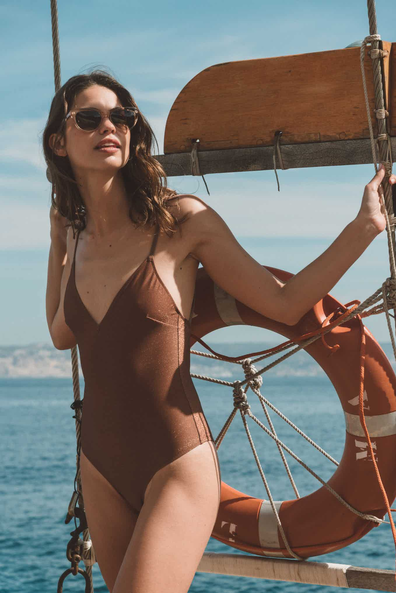 Swimsuit L'été sauvage in coffee and gold