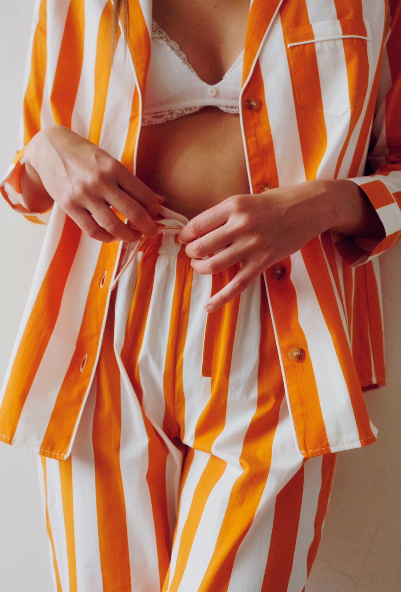ensemble songe de nuit jaune mandarine