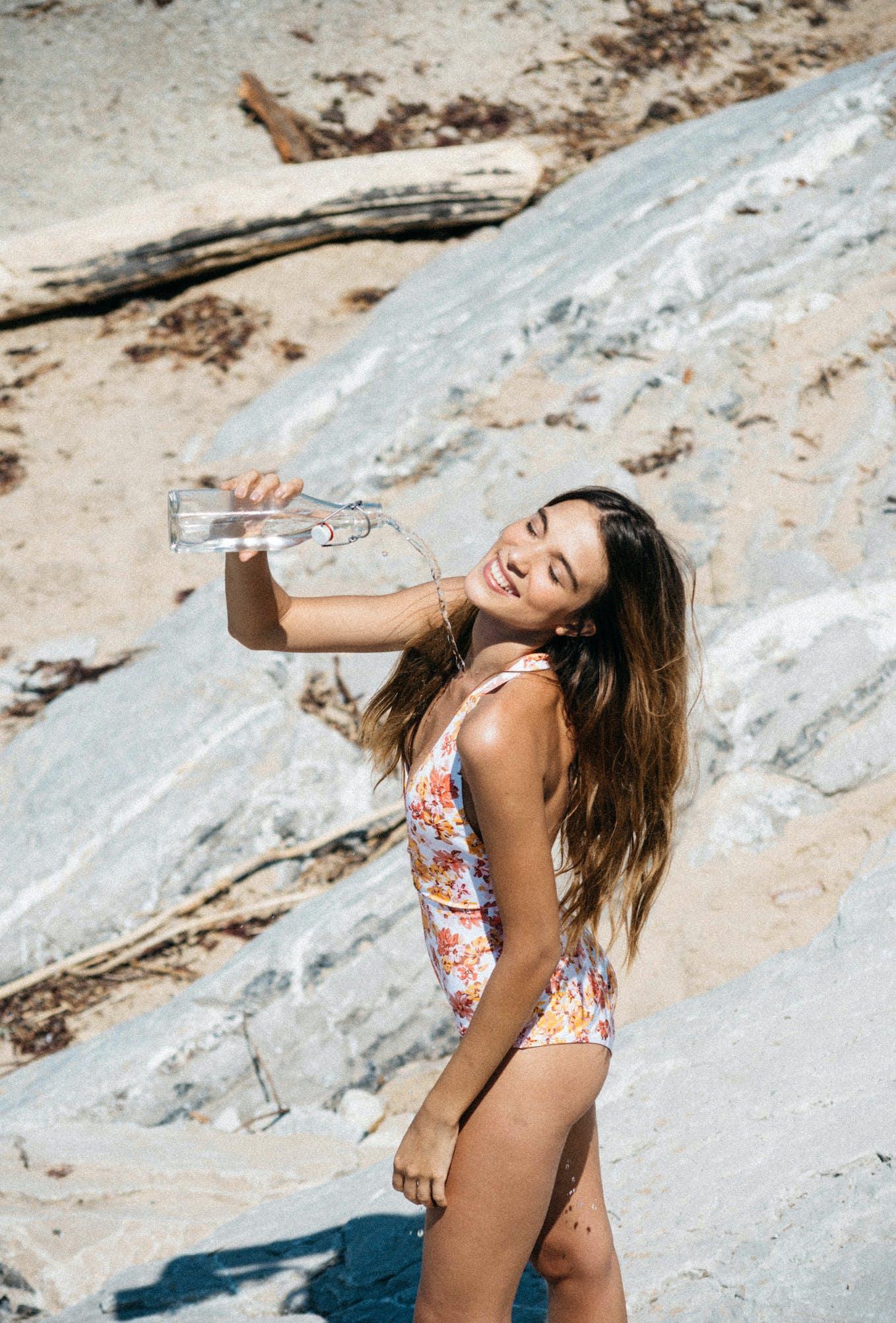 One piece swimsuit Paradis Terrestre peonies