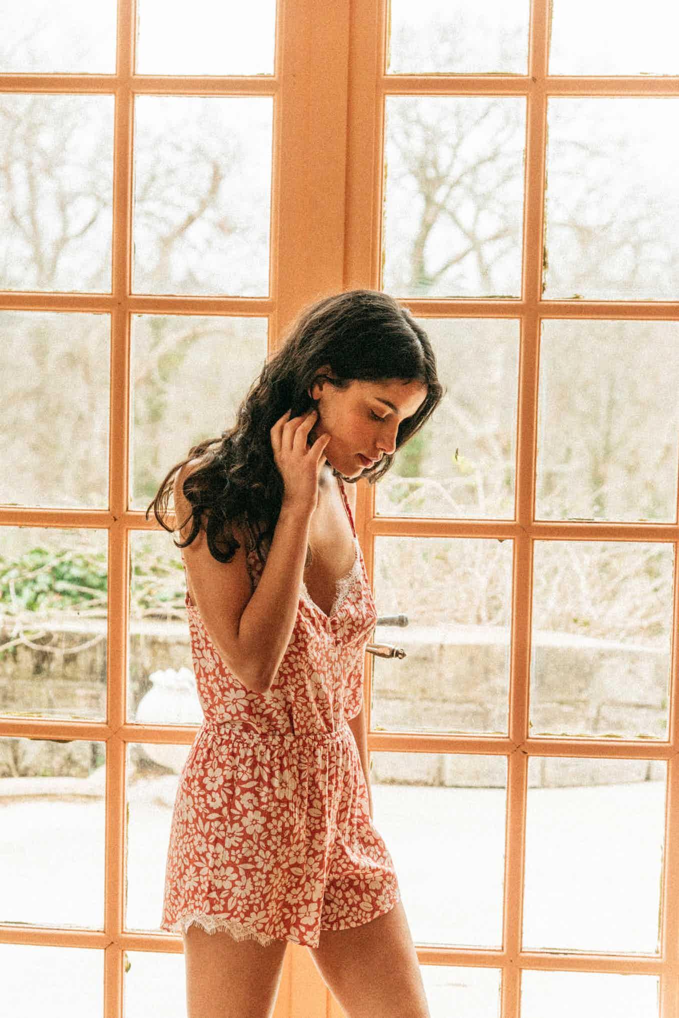 Pyjama set De beaux rêves floral peach print