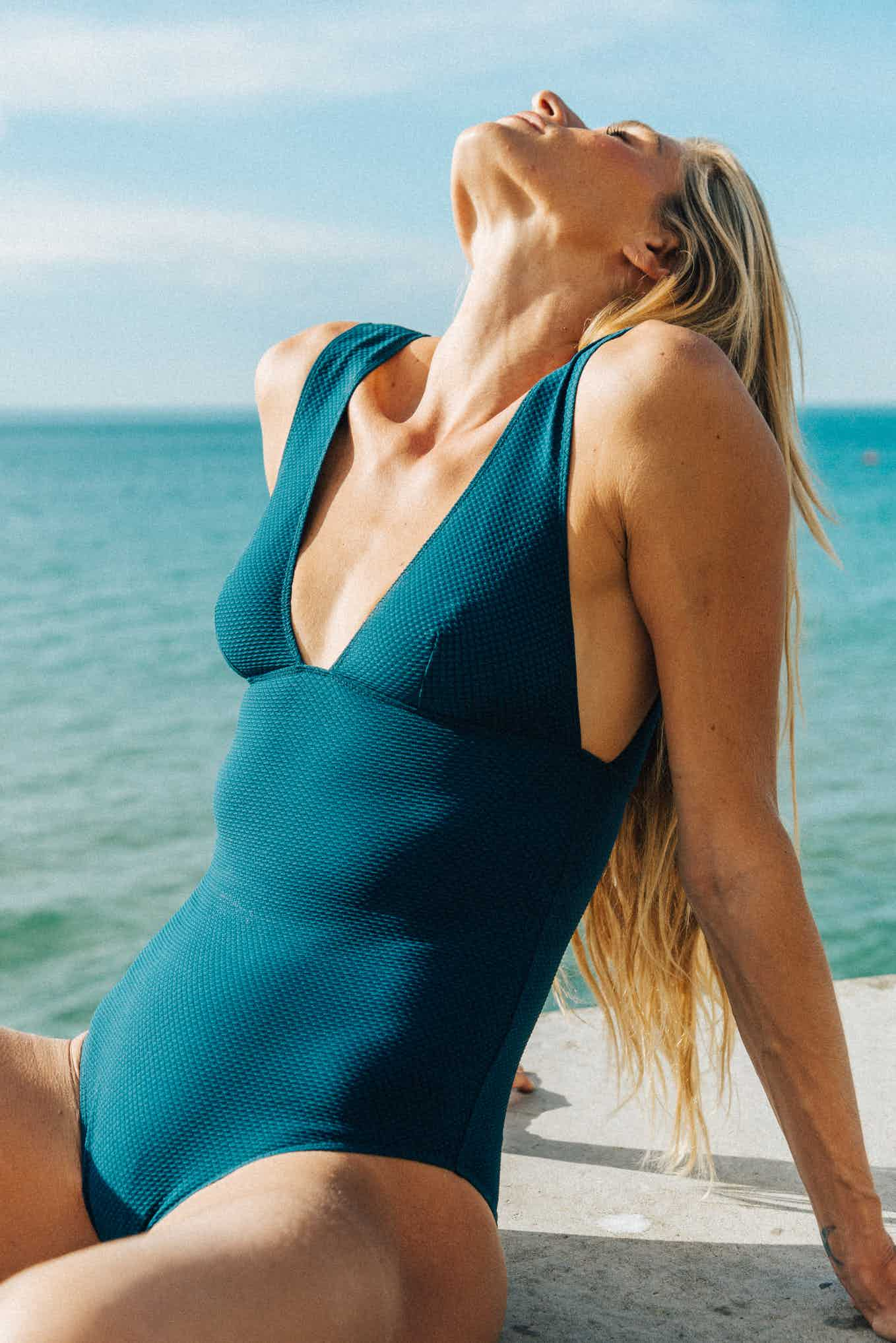 One piece swimsuit Rêve d'horizon petrol blue