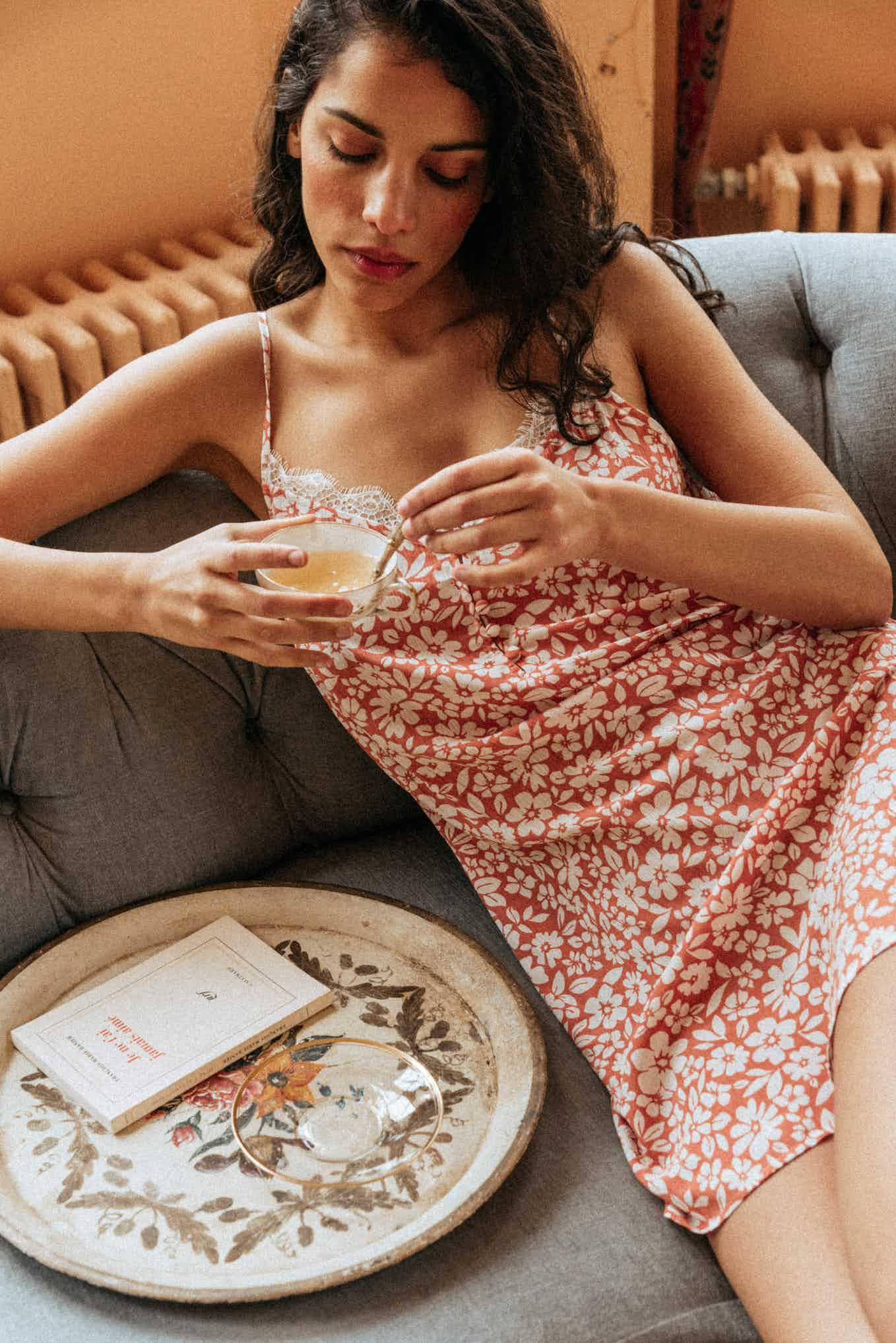 Nightie De beaux rêves floral peach print