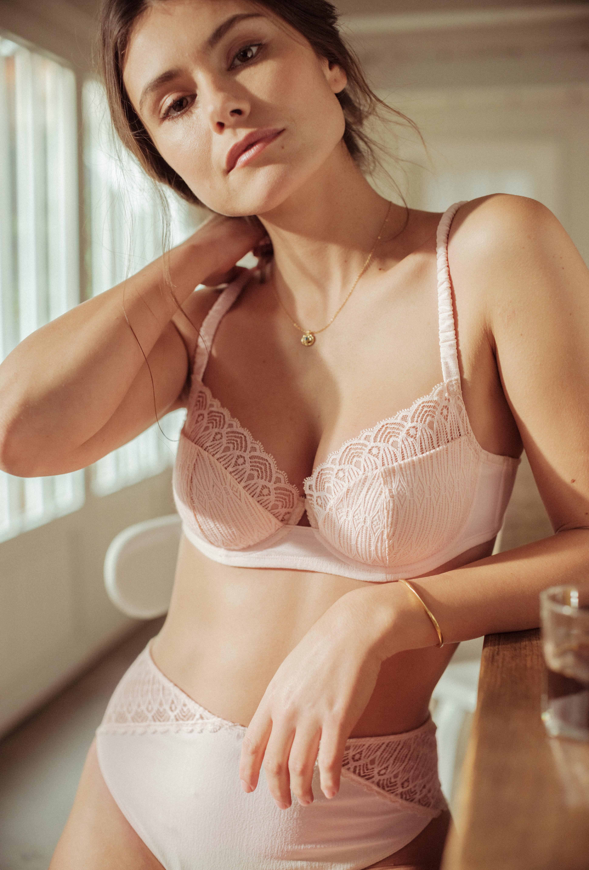 Semi-padded half-cup bra Sur mon épaule pink
