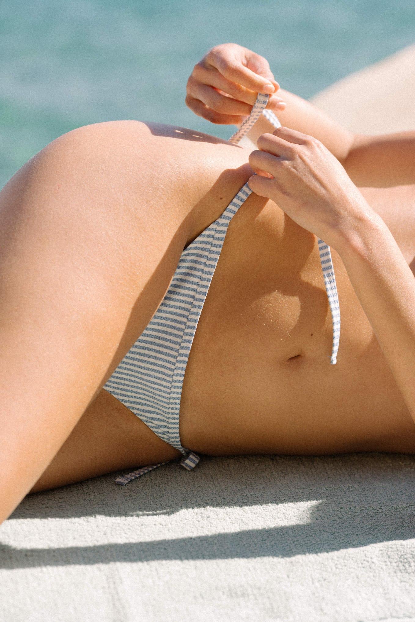Maillot de bain Soleil sur l'eau rayure denim