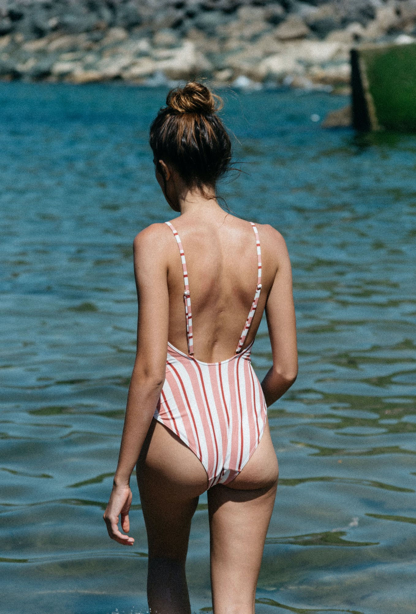 One piece swimsuit les champs du ciel stripes