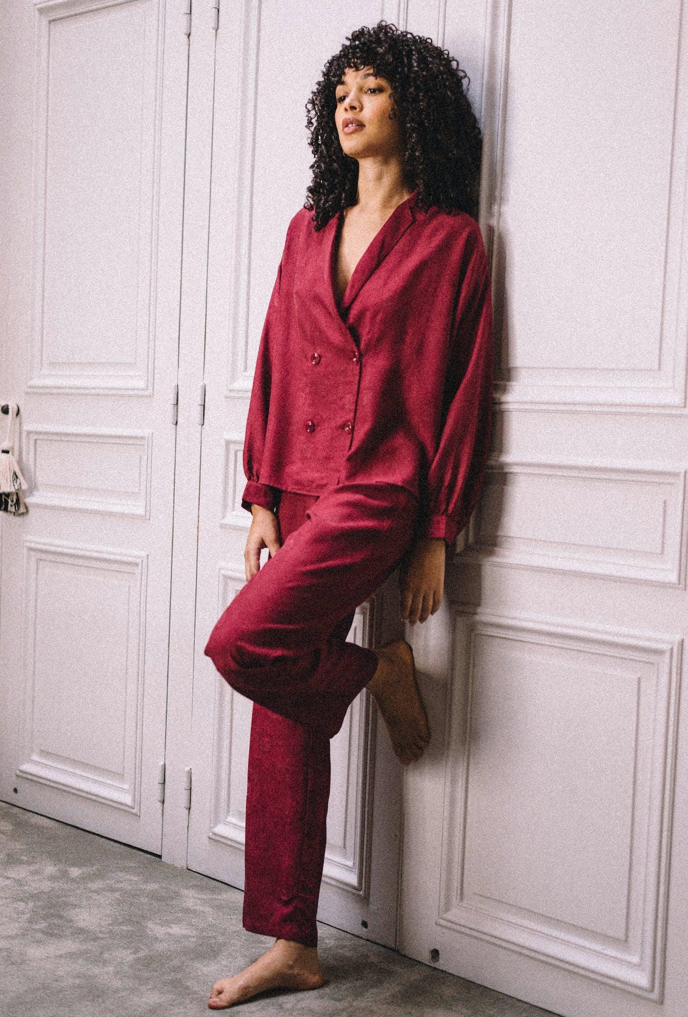 Pyjama set Fenêtre sur Jardin in redcurrant