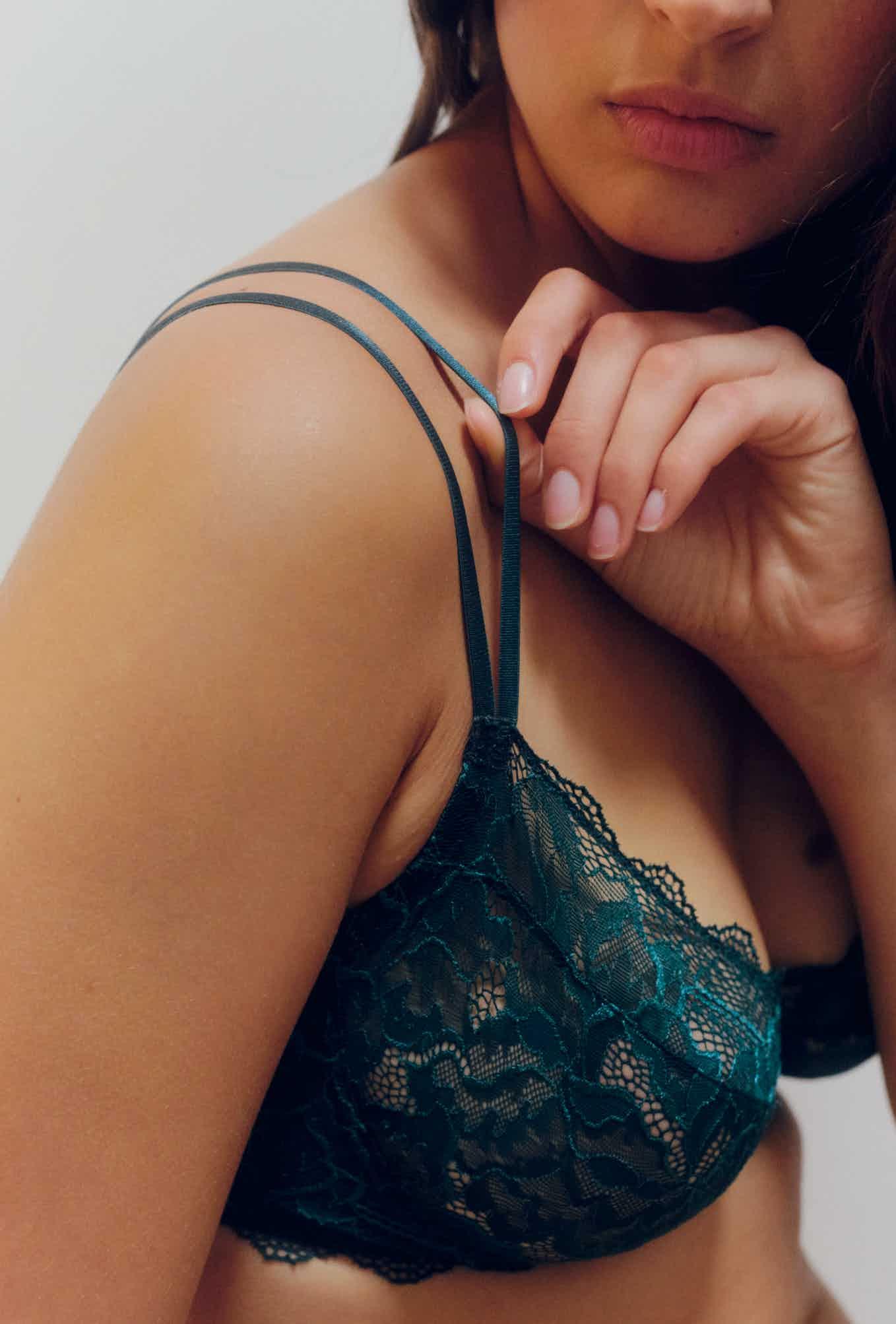 corbeille bustier chassé-croisé bleu vert sapin