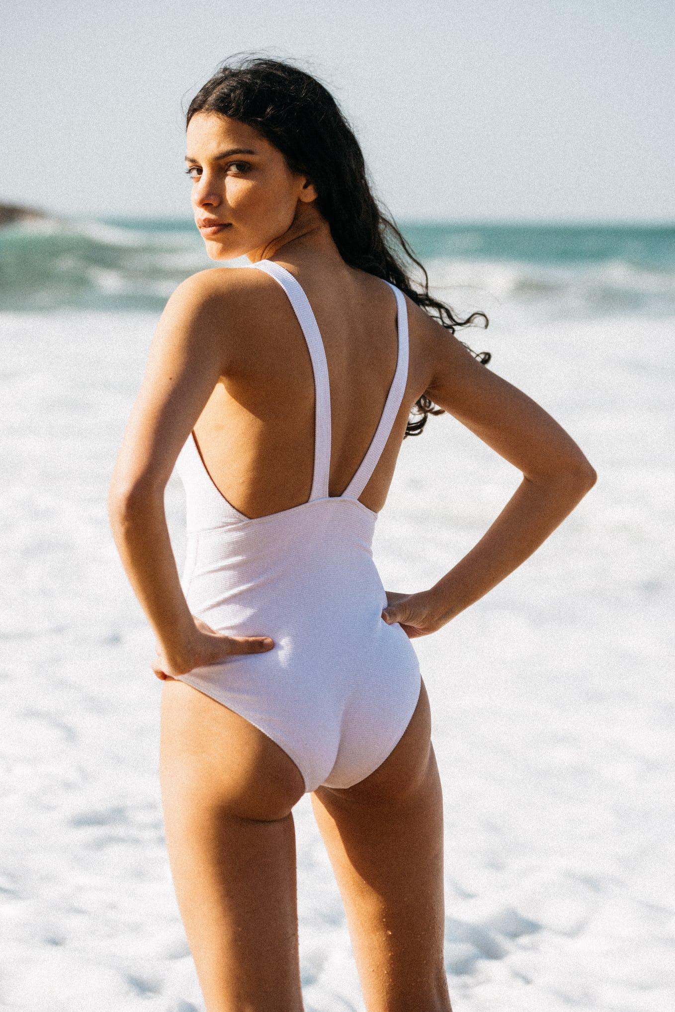 One piece swimsuit Paradis terrestre white