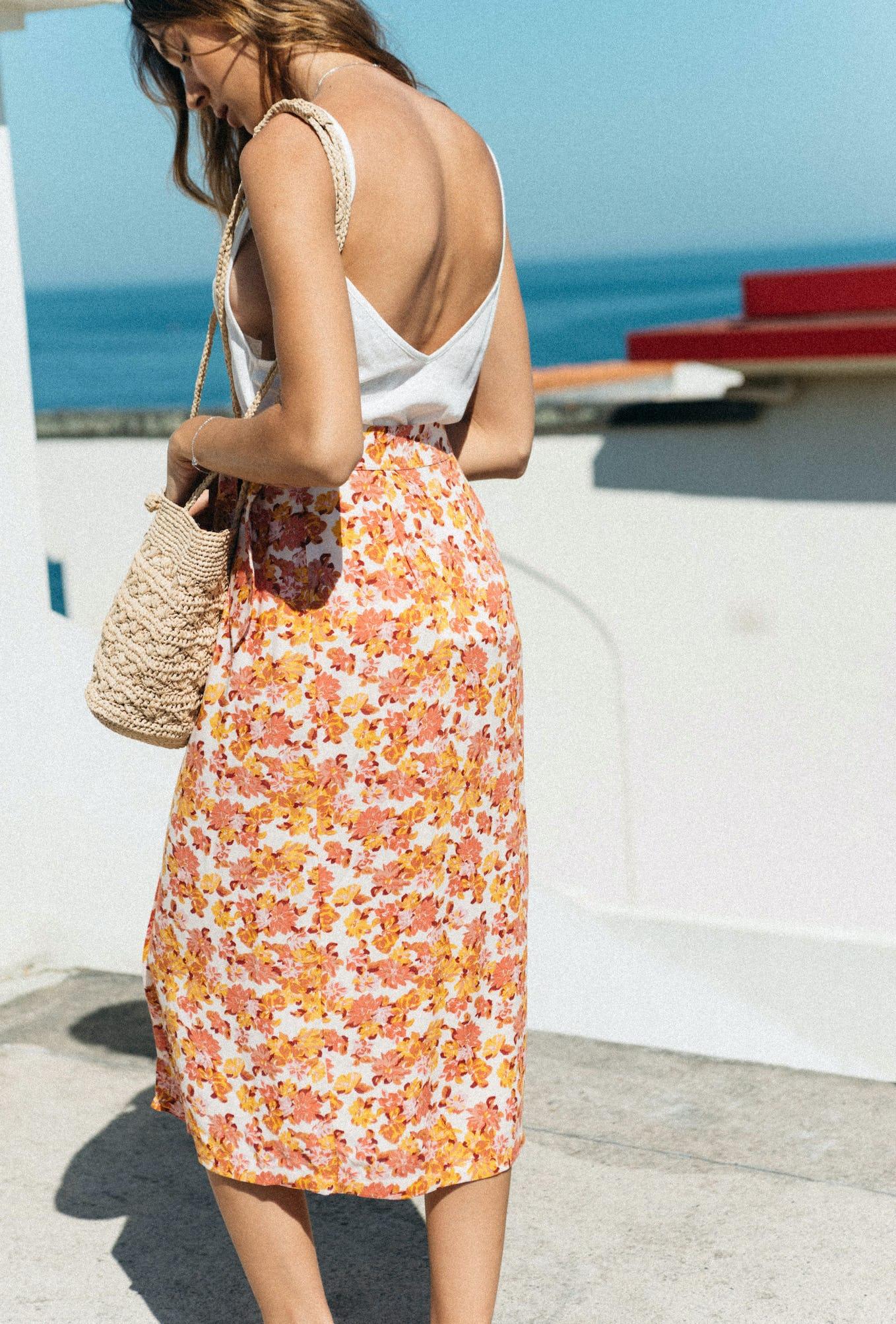 Skirt Voyage léger print peonies blush