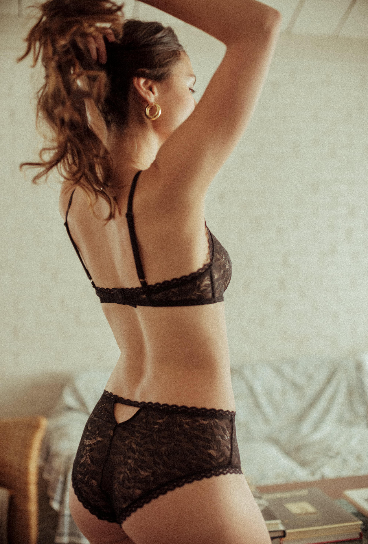 Culotte mi-haute Les flots du coeur noire