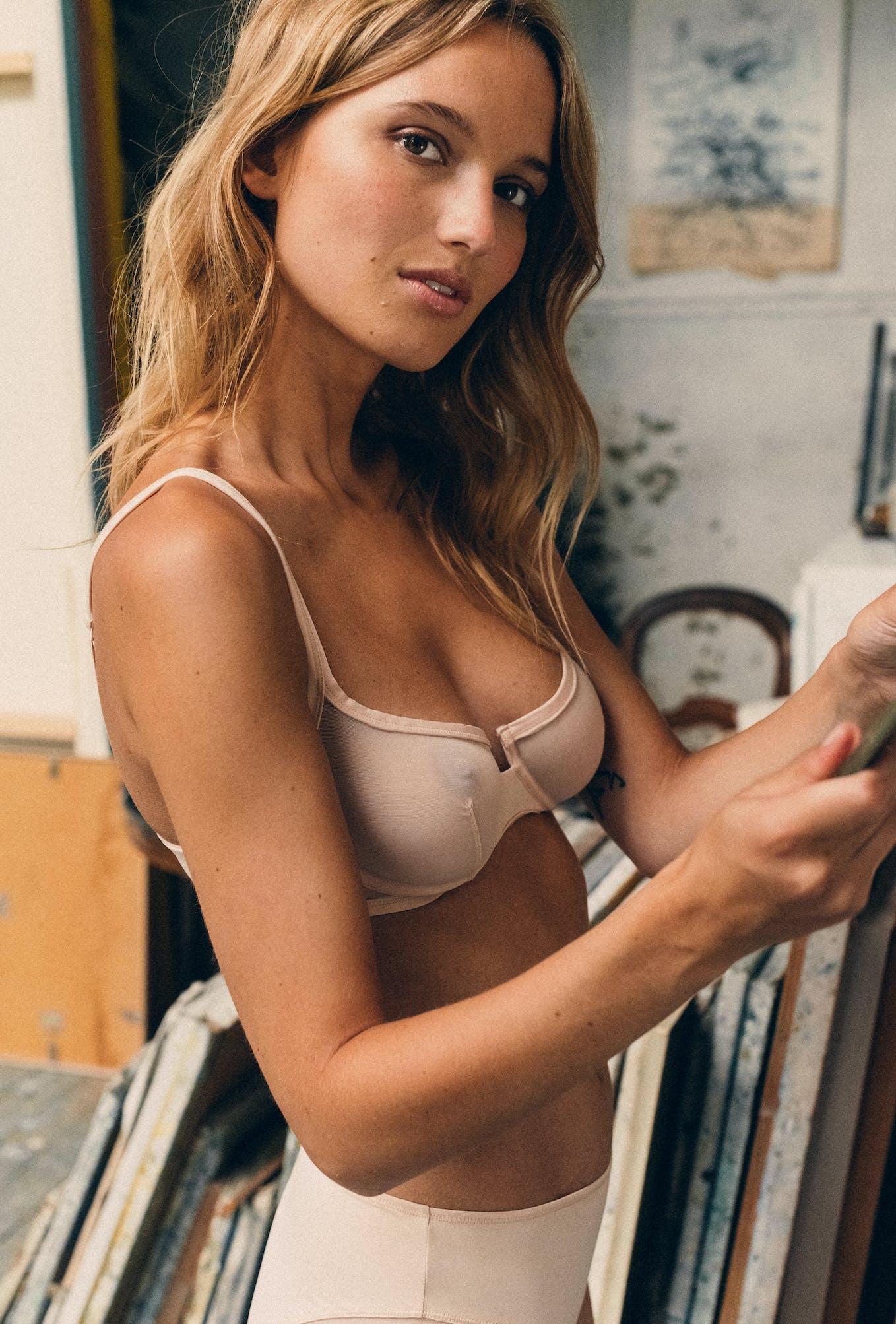 Half-cup bra in powdery pink Histoire de femmes