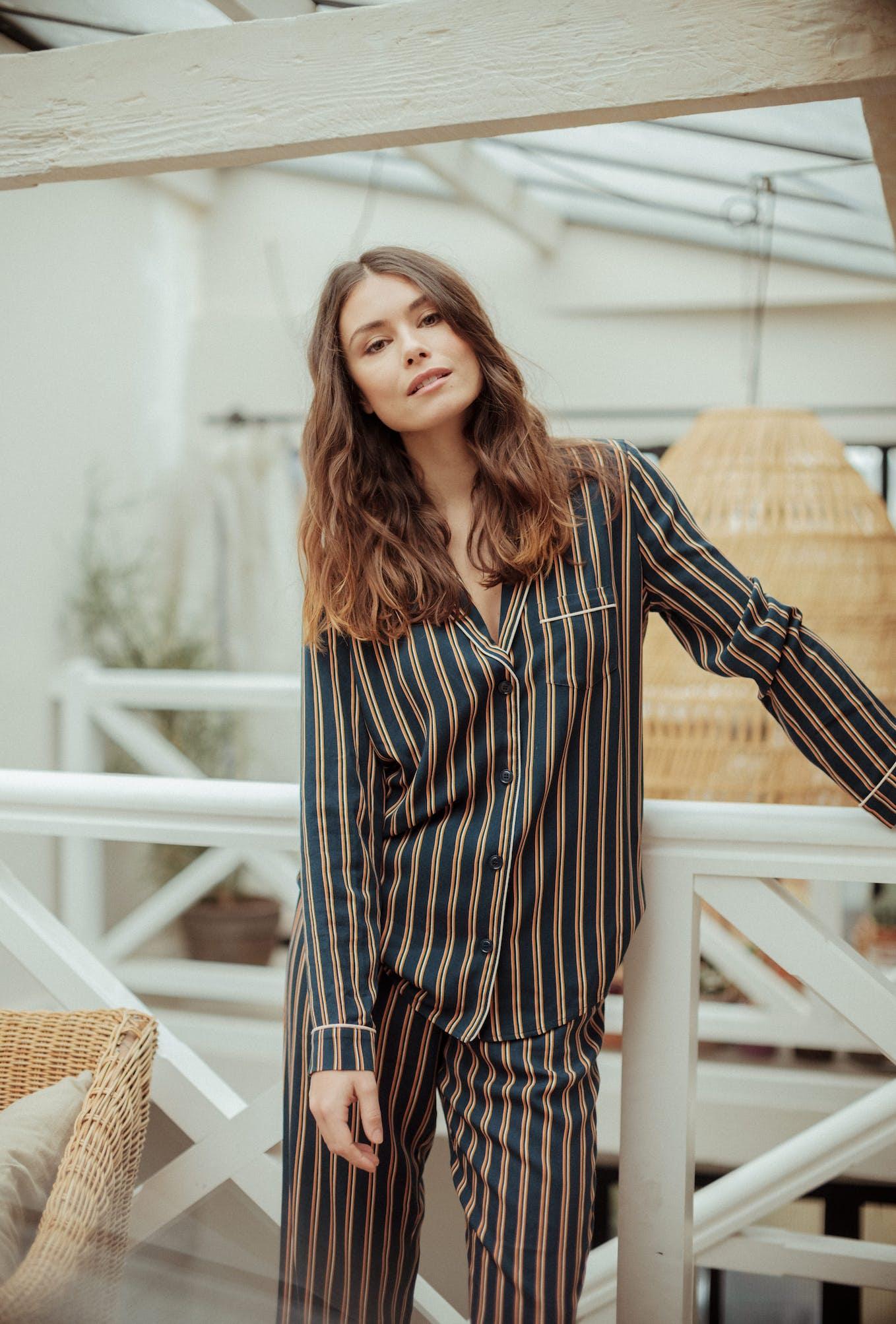 Songe de Nuit trousers dandy stripes print