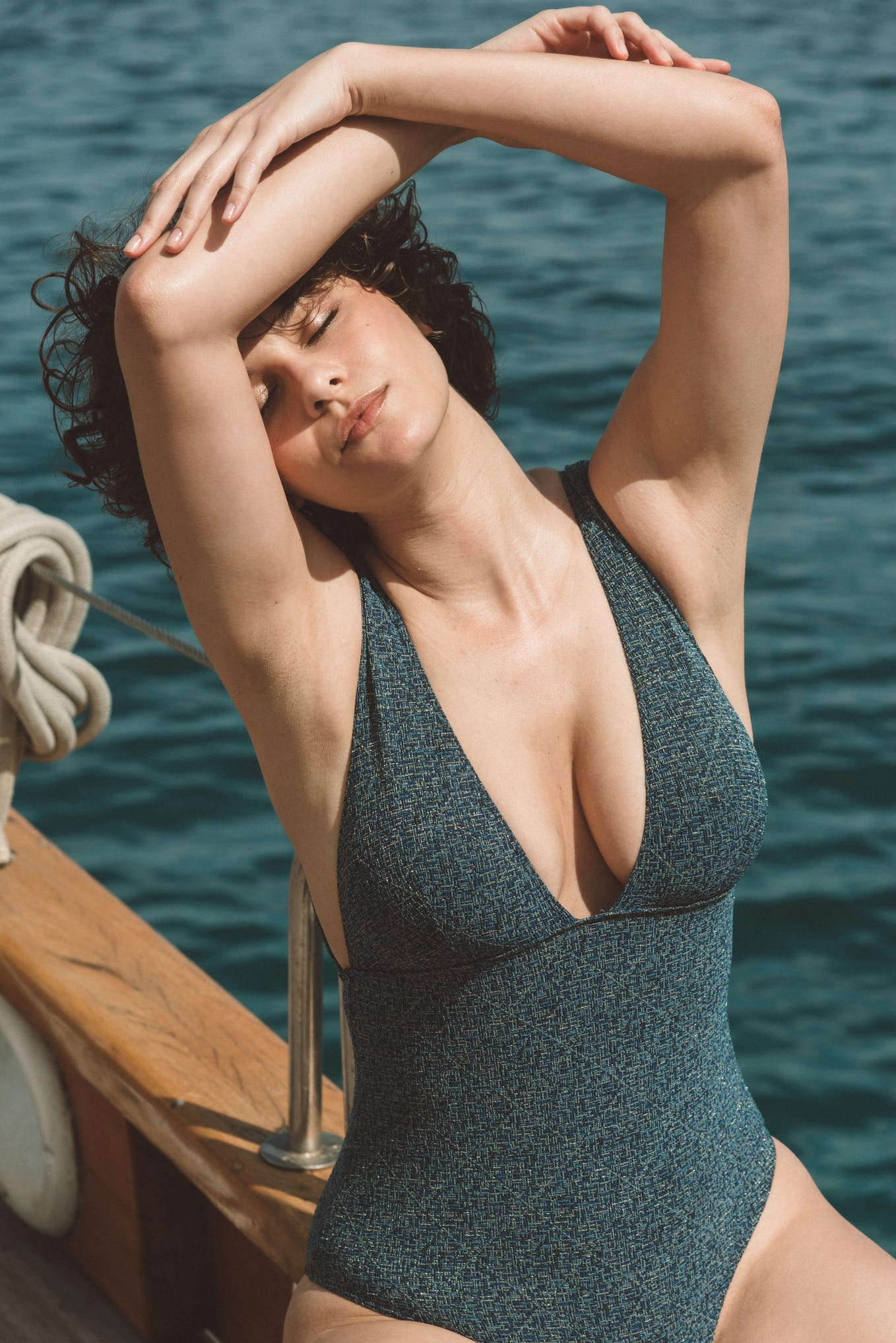 Swimsuit one piece Rêve d'horizon blue and gold