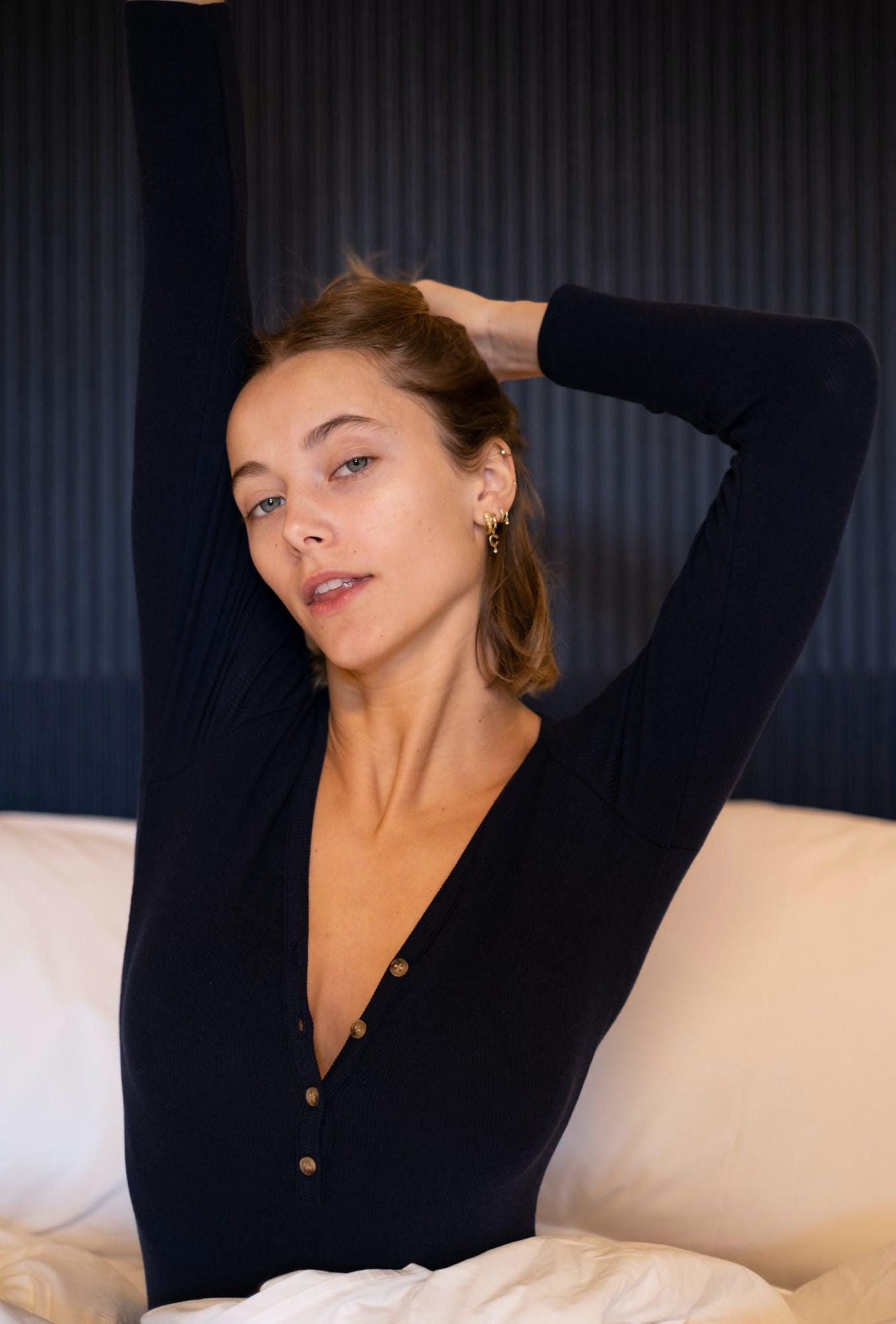 Suzanne bodysuit in navy blue