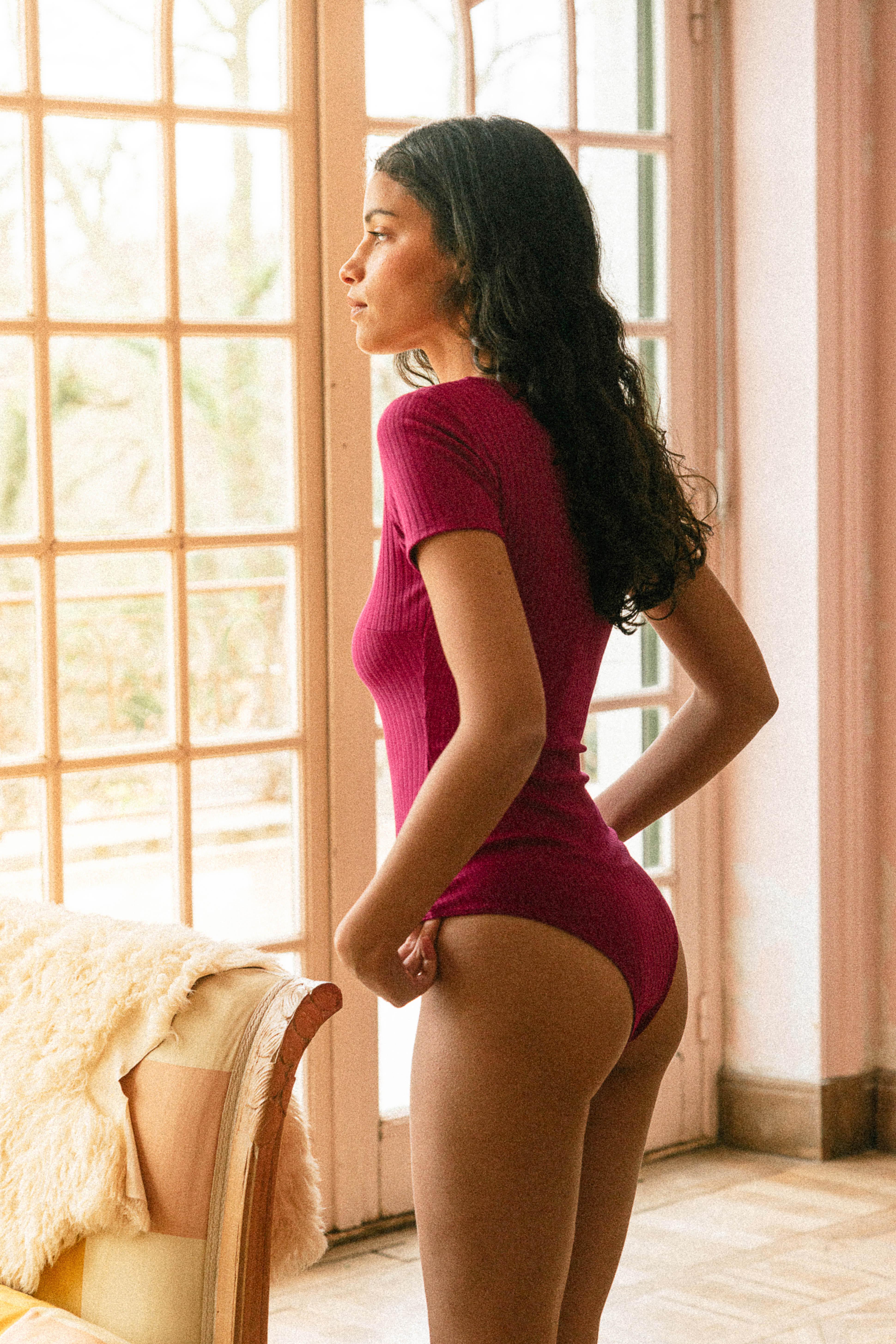 Gayana bodysuit in fuchsia pink