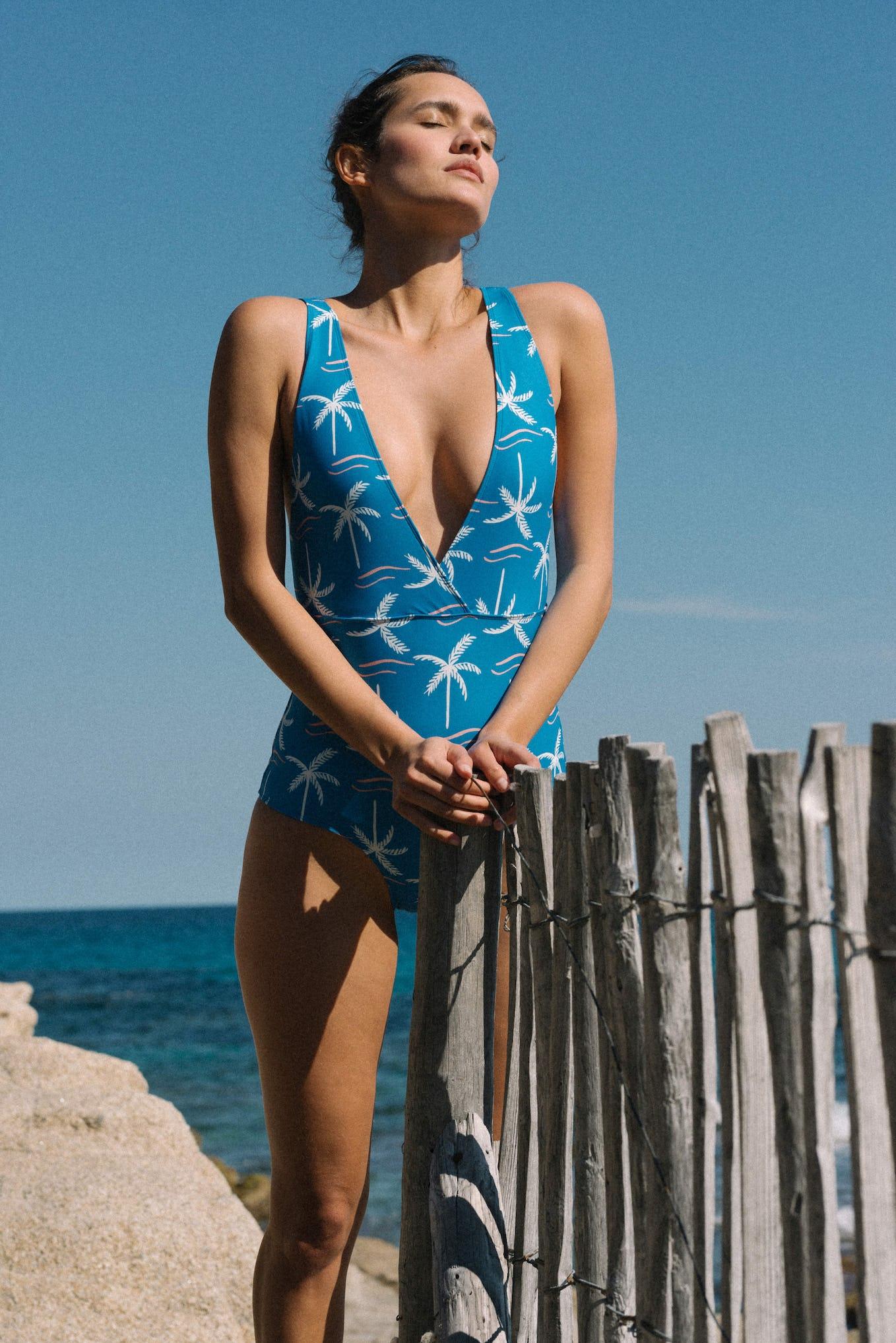 One piece swimsuit Paradis terrestre print Palmier bleu