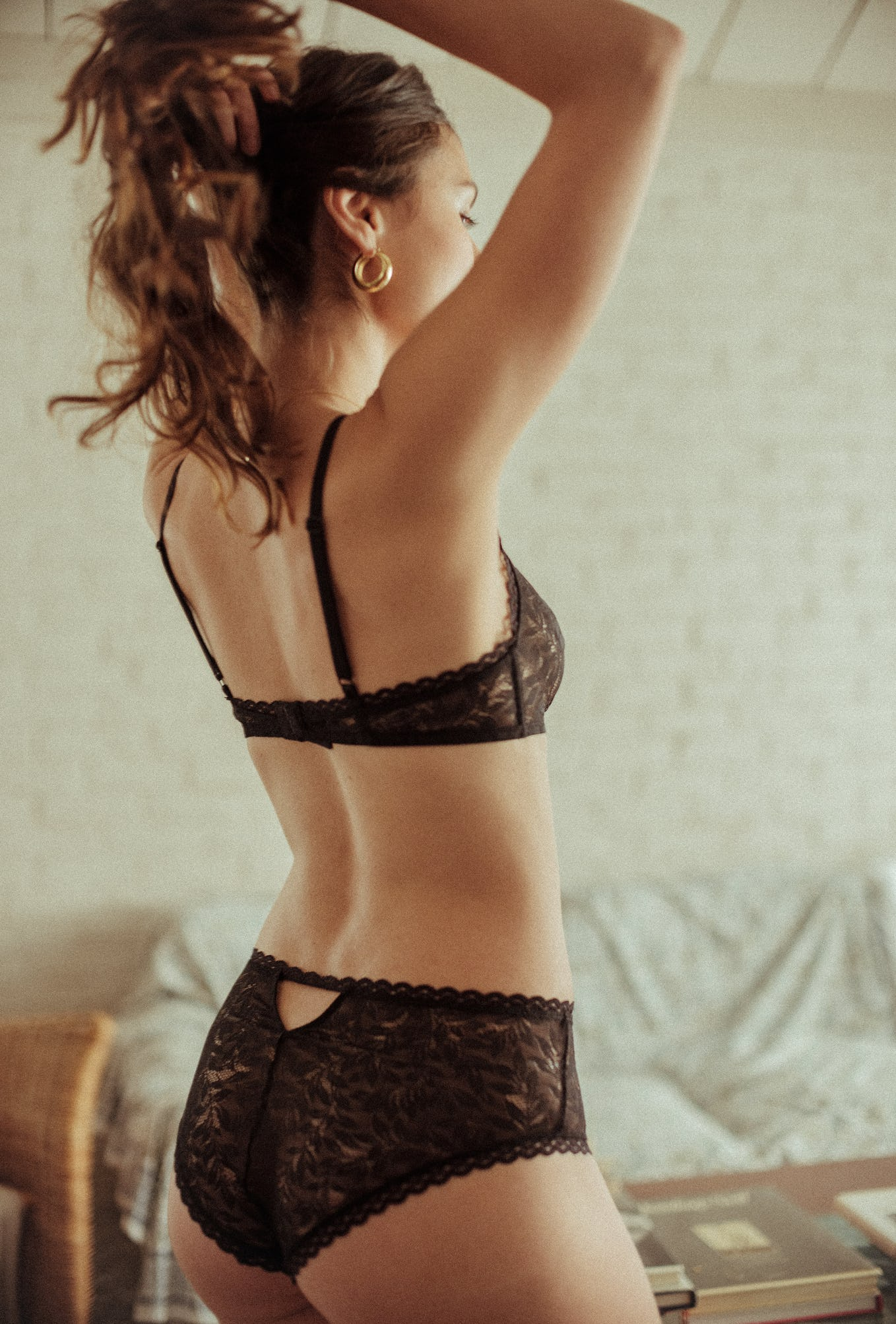 Lingerie set Les flots du coeur in black with high-waisted brief