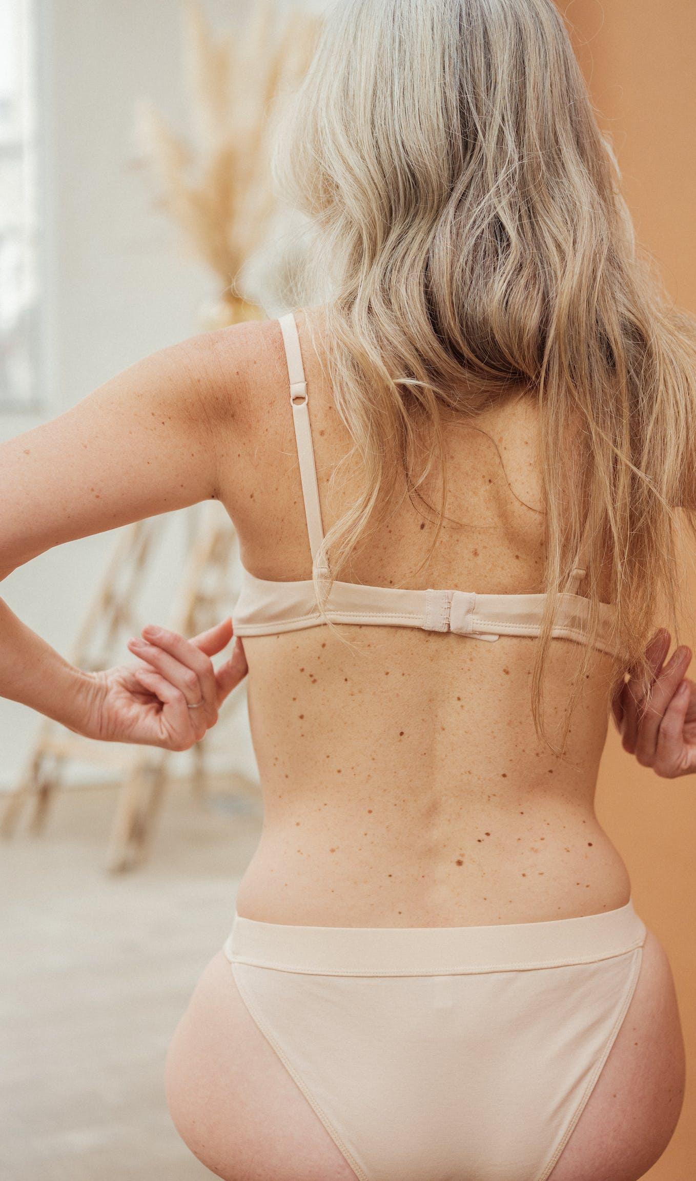 Back view of À fleur de peau Lingerie set in light beige