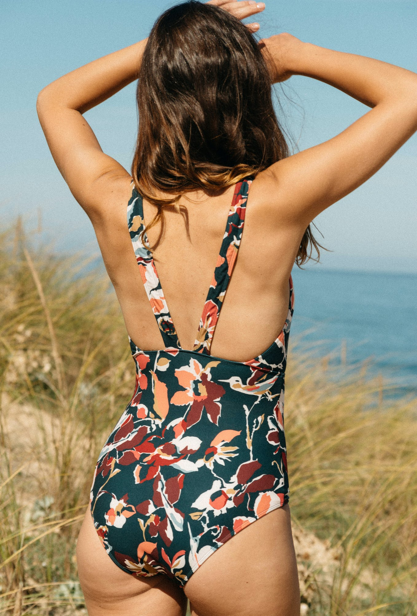 one piece swimsuit Paradis terrestre birds print